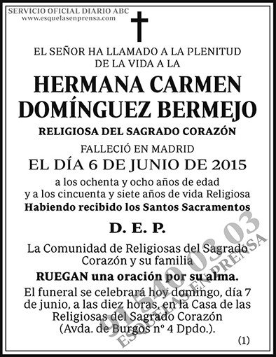 Hermana Carmen Domínguez Bermejo